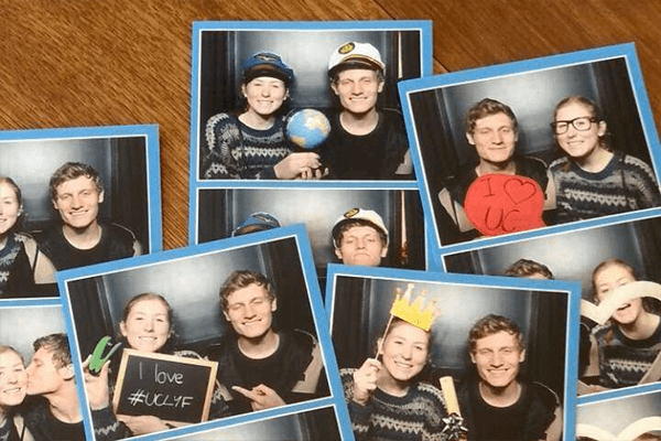 a collection of photo booth strips